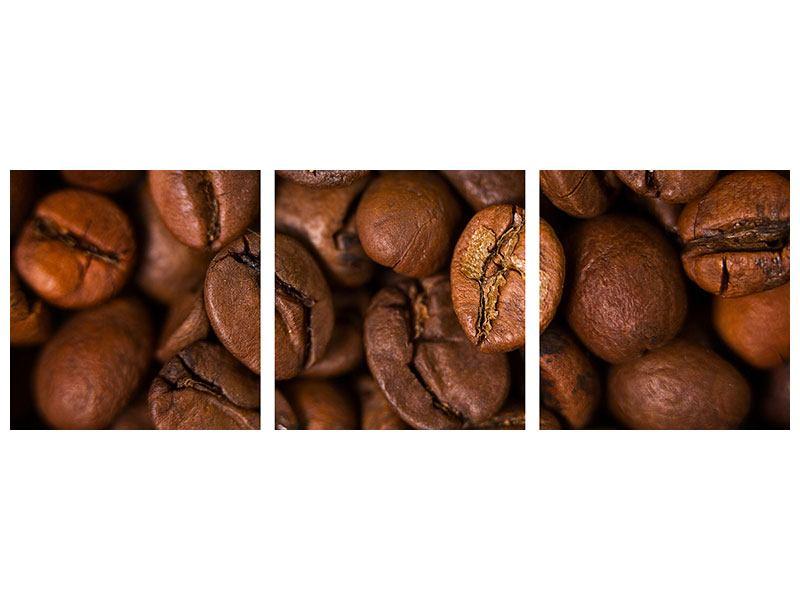 Panorama Leinwandbild 3-teilig Close Up Kaffeebohnen