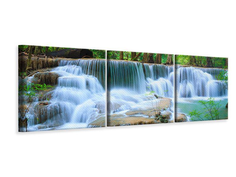 Panorama Leinwandbild 3-teilig Kaskaden Huay Mae Khamin