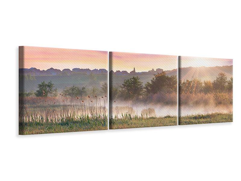 Panorama Leinwandbild 3-teilig Sonnenuntergang am Hügel