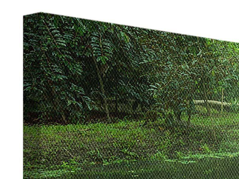 Panorama Leinwandbild 3-teilig Gartenteich
