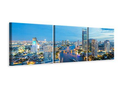 Panorama Leinwandbild 3-teilig Skyline Bangkok in der Abenddämmerung