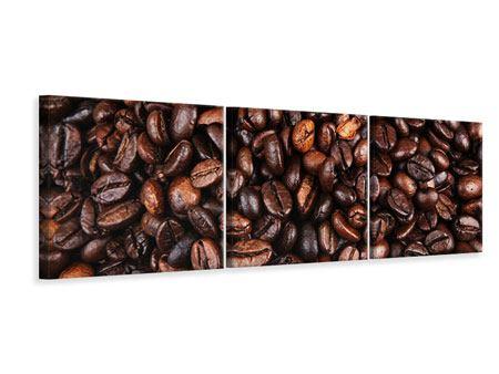 Panorama Leinwandbild 3-teilig Kaffeebohnen in XXL