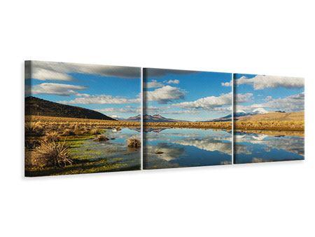 Panorama Leinwandbild 3-teilig Wasserspiegelung am See