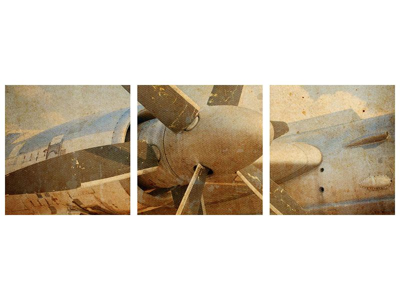 Panorama Leinwandbild 3-teilig Propellerflugzeug im Grungestil