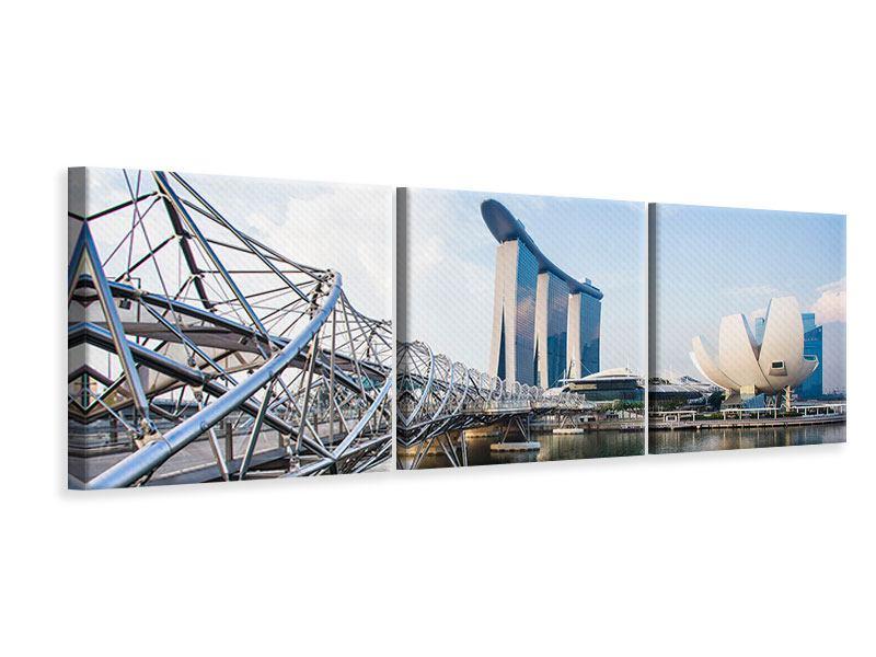 Panorama Leinwandbild 3-teilig Singapur