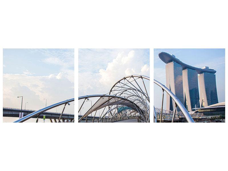 Panorama Leinwandbild 3-teilig Helix-Brücke