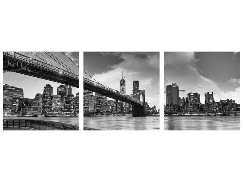 Panorama Leinwandbild 3-teilig Skyline Schwarzweissfotografie Brooklyn Bridge NY