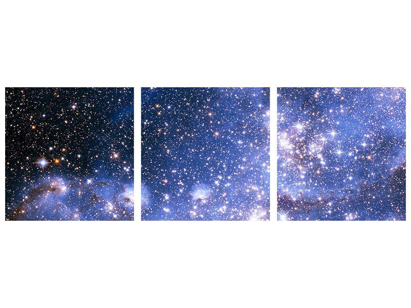 Panorama Leinwandbild 3-teilig Sternenhimmel