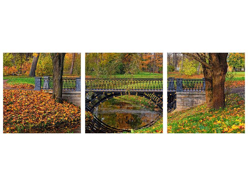 Panorama Leinwandbild 3-teilig Romantischer Park
