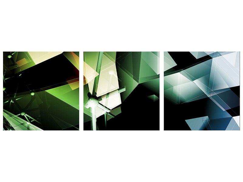 Panorama Leinwandbild 3-teilig 3D-Polygon