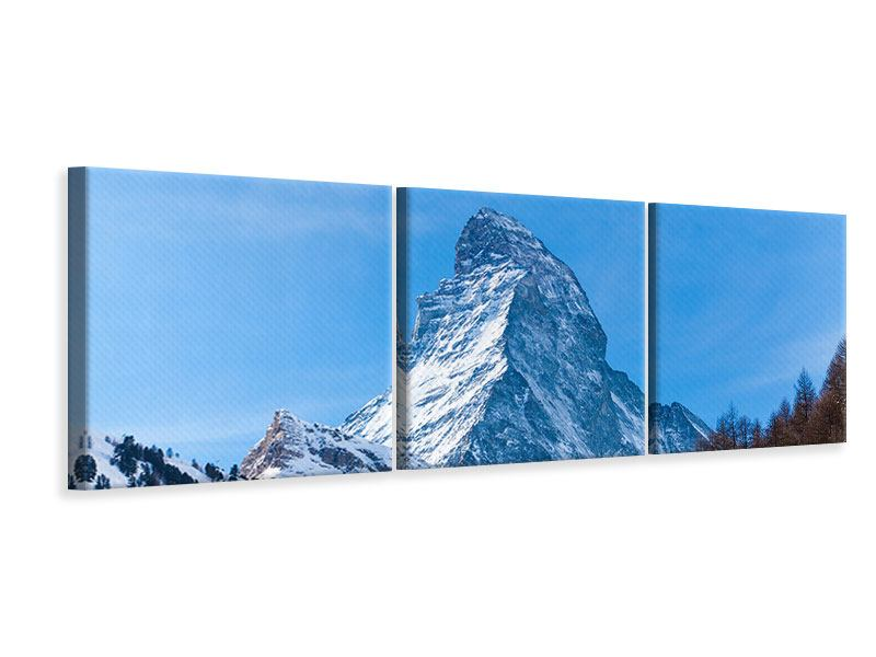 Panorama Leinwandbild 3-teilig Das majestätische Matterhorn