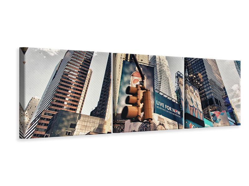 Panorama Leinwandbild 3-teilig Times Square