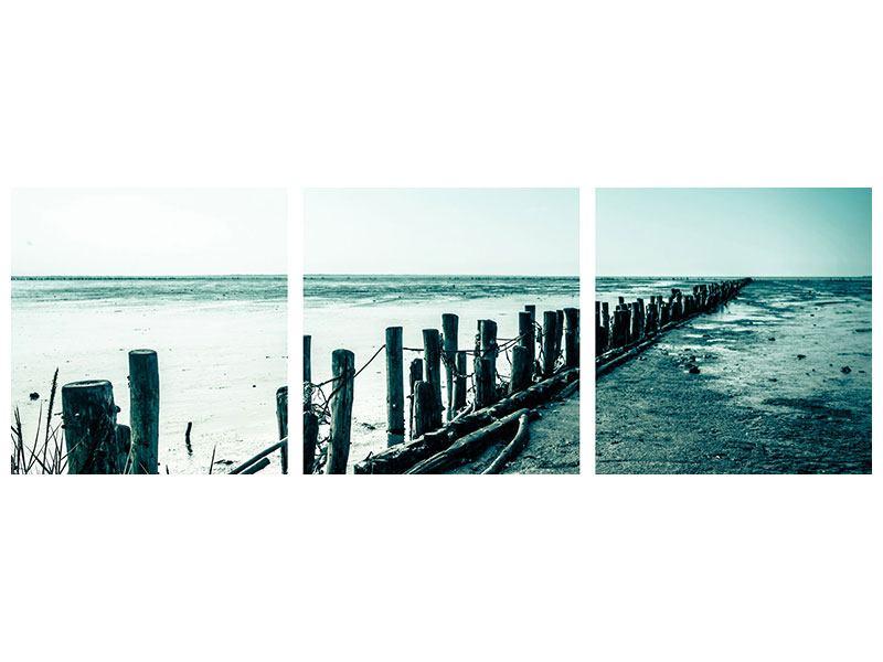 Panorama Leinwandbild 3-teilig Das Wattenmeer