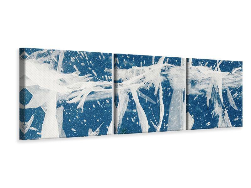 Panorama Leinwandbild 3-teilig Eiskristalle