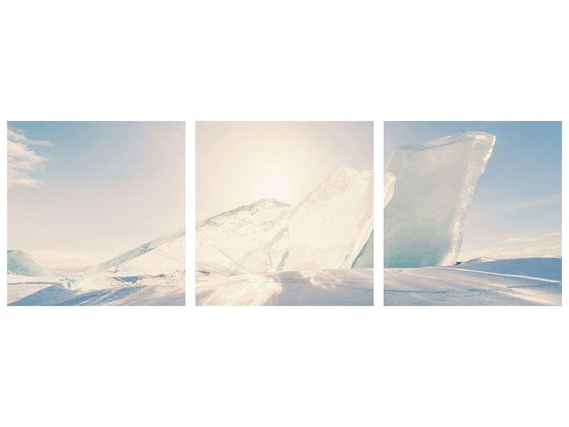 Panorama Leinwandbild 3-teilig Eislandschaft