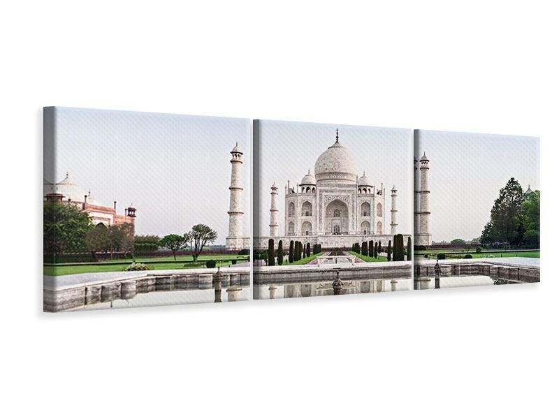 Panorama Leinwandbild 3-teilig Taj Mahal