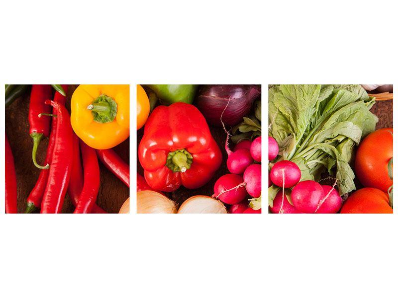 Panorama Leinwandbild 3-teilig Gemüsefrische