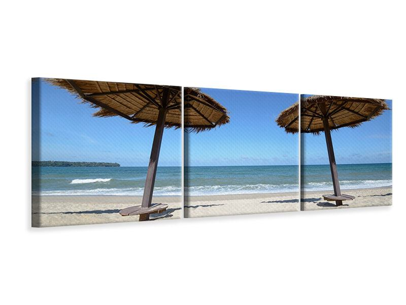 Panorama Leinwandbild 3-teilig Umbrellas