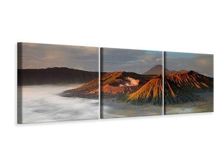 Panorama Leinwandbild 3-teilig Der Bromo Vulkan