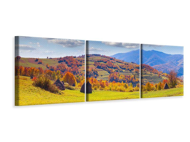 Panorama Leinwandbild 3-teilig Herbstliche Berglandschaft