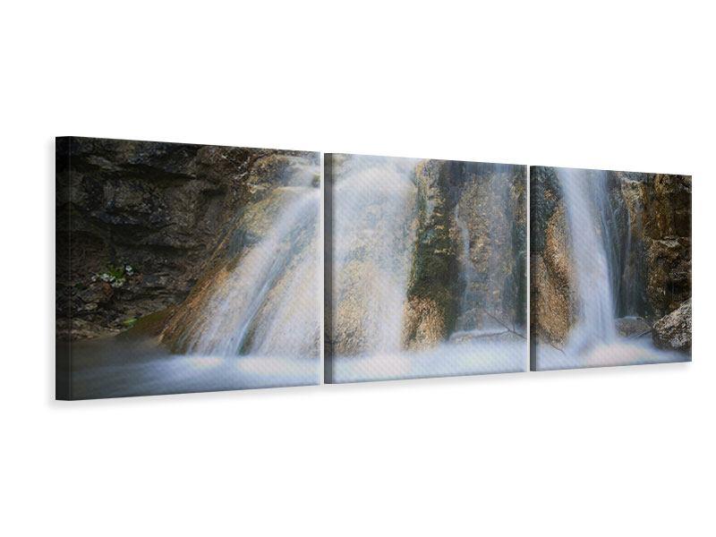Panorama Leinwandbild 3-teilig Imposanter Wasserfall