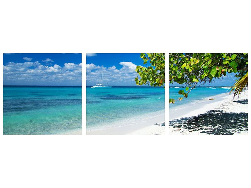 Panorama Leinwandbild 3-teilig Happy Beach