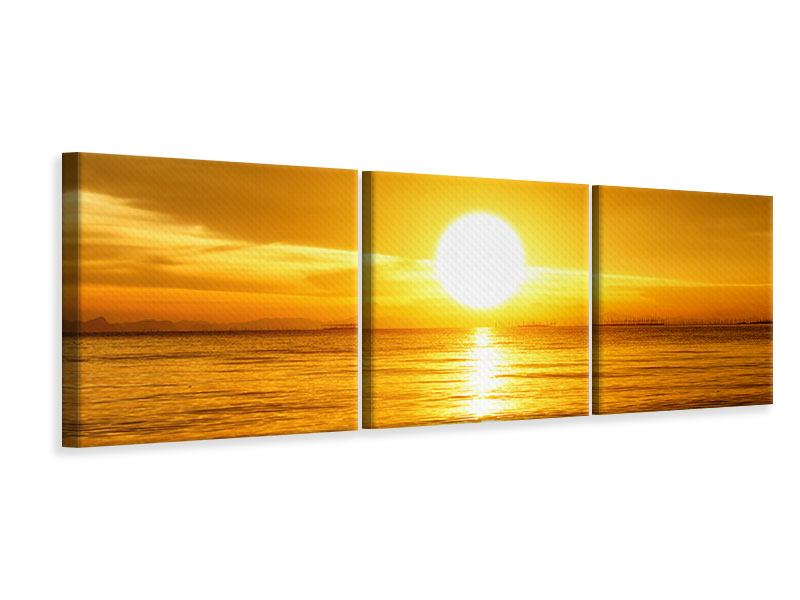Panorama Leinwandbild 3-teilig Traumhafter Sonnenuntergang