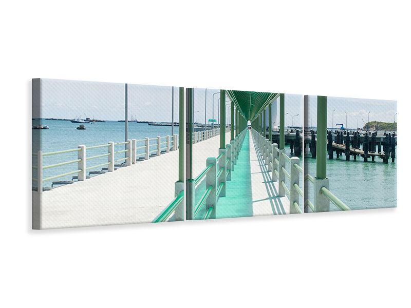 Panorama Leinwandbild 3-teilig Die Brücke am Meer