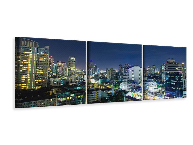 Panorama Leinwandbild 3-teilig Skyline Nachts in Bangkok