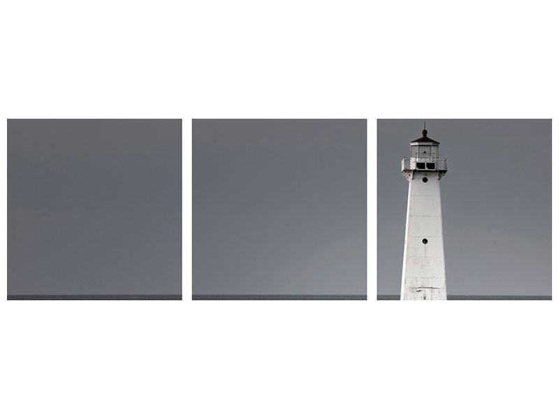 Panorama Leinwandbild 3-teilig Der Leuchtturm bei Nacht