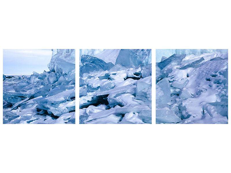 Panorama Leinwandbild 3-teilig Eislandschaft Baikalsee
