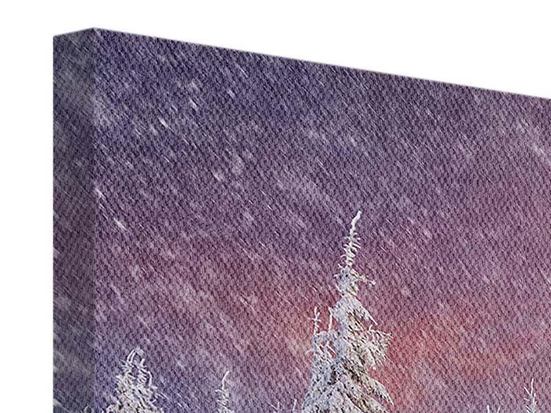Panorama Leinwandbild 3-teilig Mystischer Schneesturm