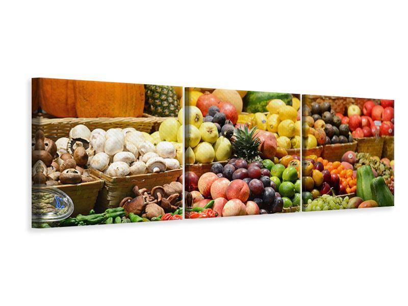 Panorama Leinwandbild 3-teilig Obstmarkt