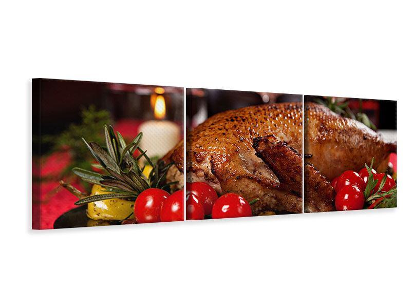 Panorama Leinwandbild 3-teilig Köstliches Geflügel