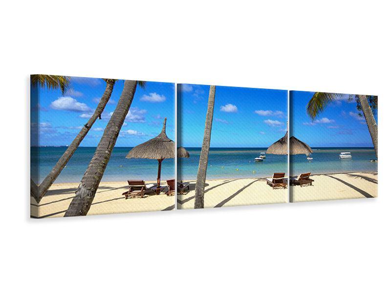 Panorama Leinwandbild 3-teilig Mauritius