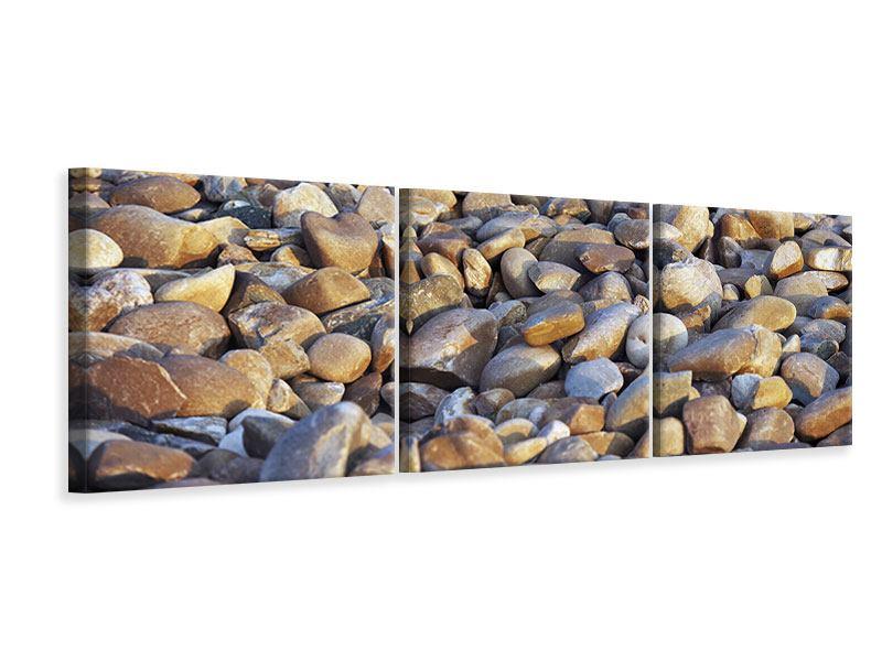 Panorama Leinwandbild 3-teilig Strandsteine