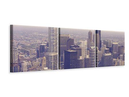 Panorama Leinwandbild 3-teilig Skyline Chicago in Sepia
