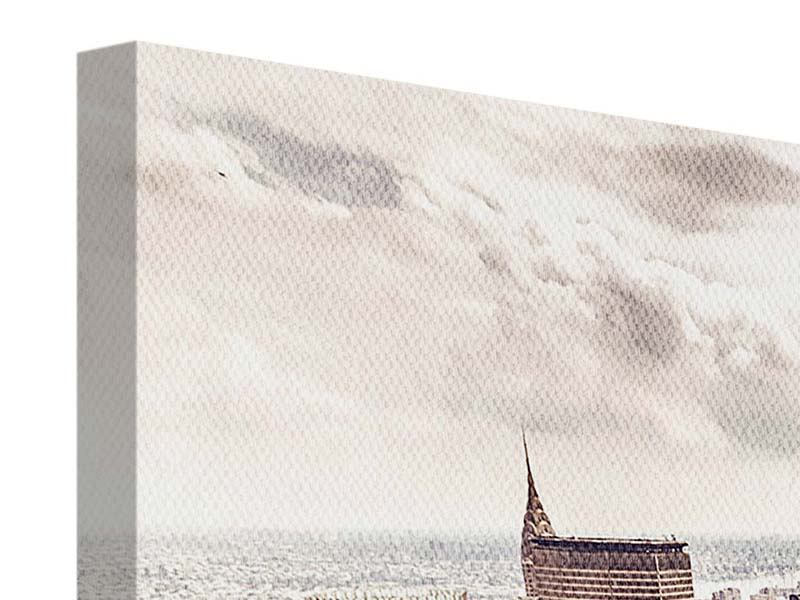 Panorama Leinwandbild 3-teilig Skyline Über den Dächern Manhattans