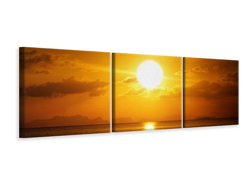 Panorama Leinwandbild 3-teilig Sonnenuntergang See