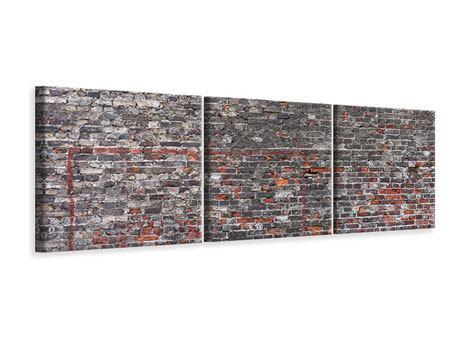 Panorama Leinwandbild 3-teilig Alte Backsteine