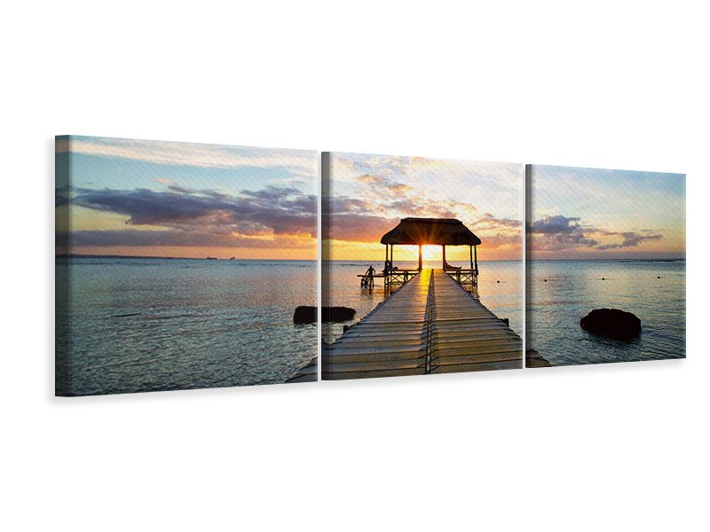 Panorama Leinwandbild 3-teilig Romantik auf Mauritius