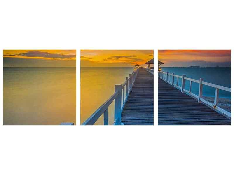 Panorama Leinwandbild 3-teilig Eine Holzbrücke im fernen Osten