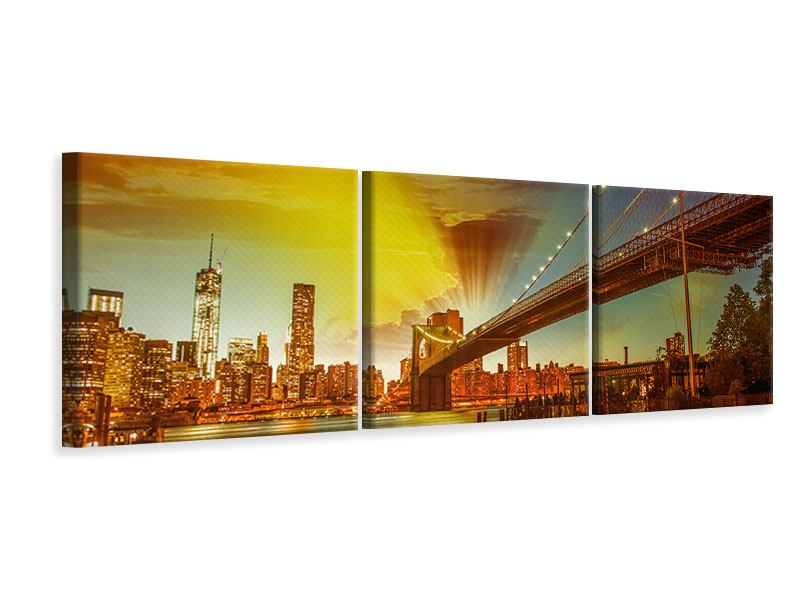Panorama Leinwandbild 3-teilig Skyline Brooklyn Bridge NY