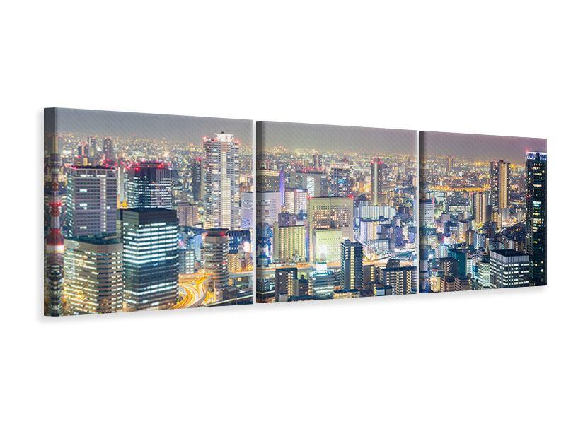 Panorama Leinwandbild 3-teilig Skyline Osaka bei Sonnenuntergang