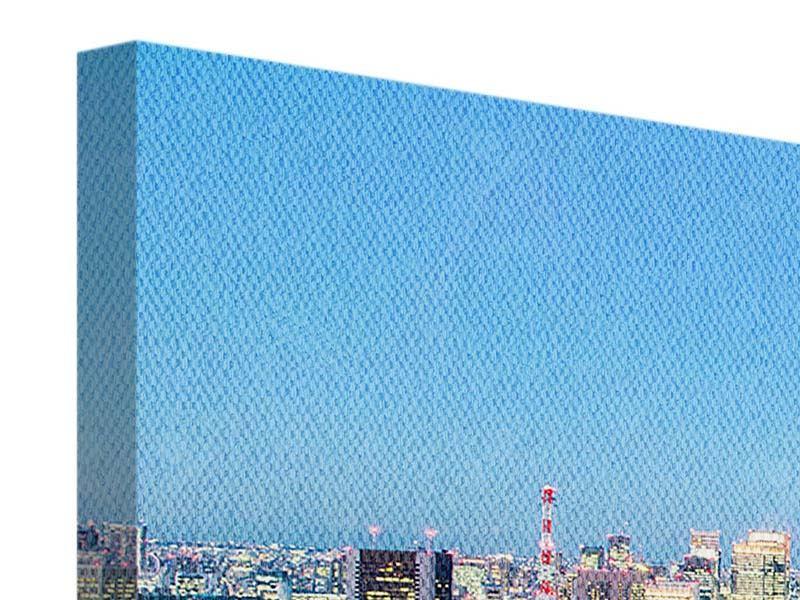 Panorama Leinwandbild 3-teilig Skyline Tokio im Lichtermeer