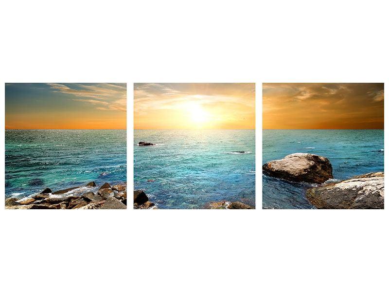 Panorama Leinwandbild 3-teilig Meerwasser