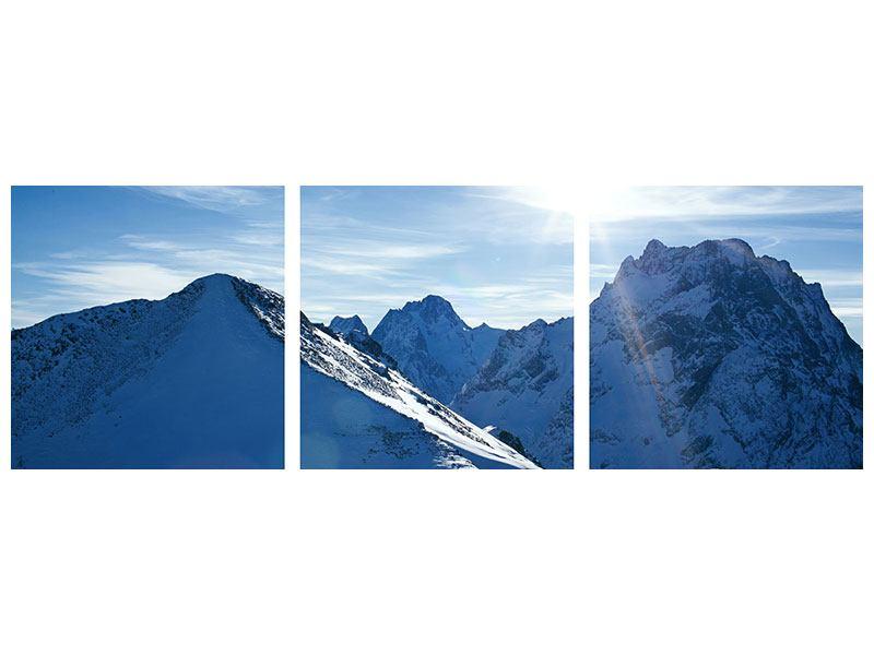 Panorama Leinwandbild 3-teilig Der Berg im Schnee
