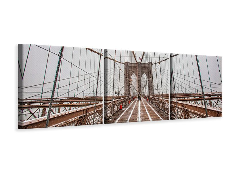 Panorama Leinwandbild 3-teilig Auf der Brooklyn Bridge