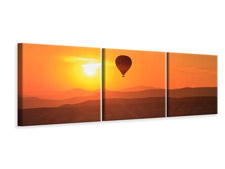 Panorama Leinwandbild 3-teilig Heissluftballon bei Sonnenuntergang