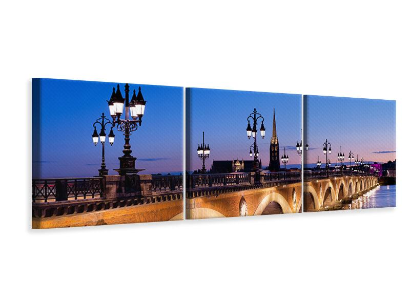 Panorama Leinwandbild 3-teilig Pont De Pierre bei Sonnenuntergang